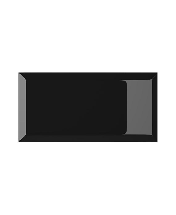 carrelage bisauté métro brillant nero 10X20 cm