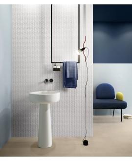 Carrelage salle de bain imitation marbre poli brillant rectifié 60x60cm, bianco lasa au sol et au mur