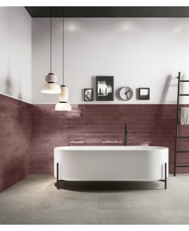Carrelage salle de bain moderne mural santastripebrick mauve 7.3x30cm