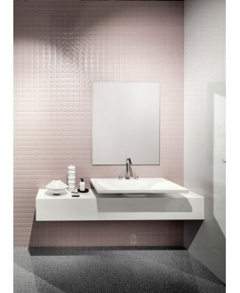 Carrelage salle de bain moderne mural en relief santacity rose 25x75cm