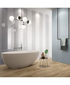 Carrelage salle de bain moderne mural en relief sanntacity bleu 25x75cm