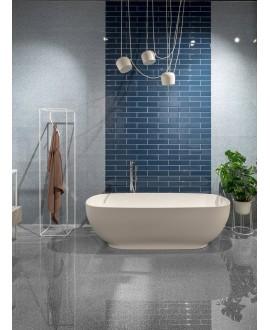 Carrelage salle de bain moderne mural santasolidbrick bleu 7.3x30cm