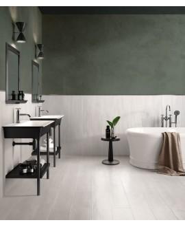 Carrelage salle de bain imitation parquet ciré, satiné, 20x120cm rectifié, Santalakewood white
