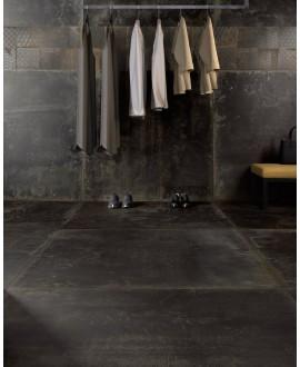 Carrelage salle de bain imitation métal 60x60cm rectifié , santoxydart noir