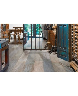 Carrelage imitation vieux parquet peint dénuancé, pièce à vivre, sol et mur, 15x120cm rectifié, Santablend mix