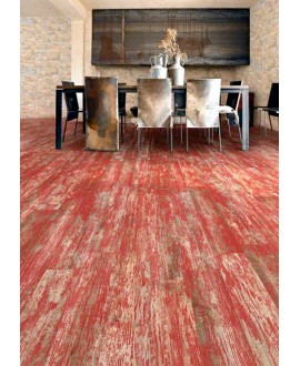 Carrelage imitation parquet rouge moderne, 14.4x89.3cm, V faro rouge