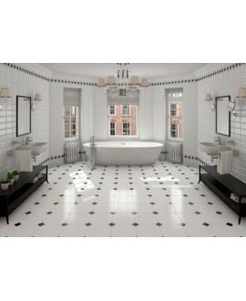 Carrelage salle de bain E octogone blanc mat 20x20cm avec cabochon noir 5x5cm