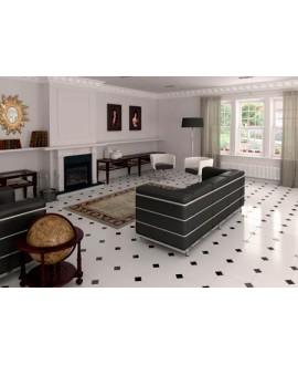 Carrelage E octogone blanc brillant 20x20cm avec cabochon noirs 5x5cm