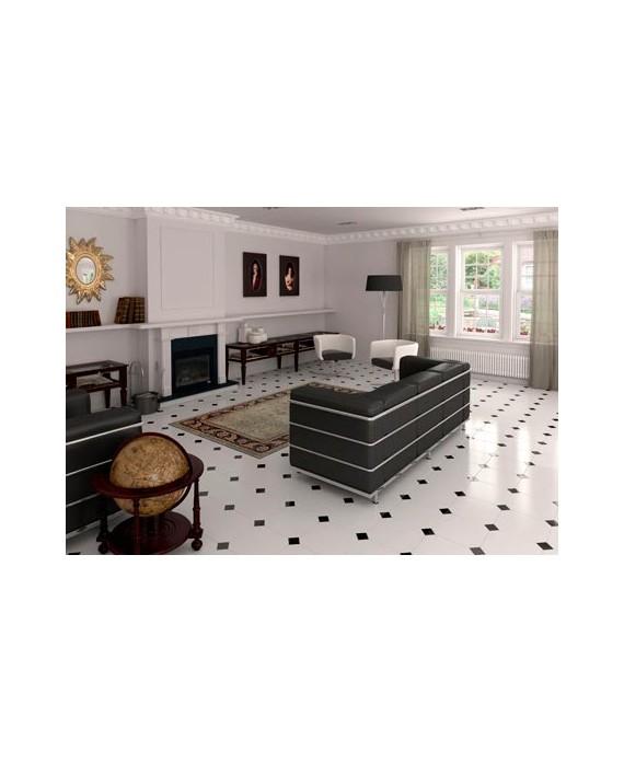 Carrelage E Octogone Blanc Brillant 20x20cm Avec Cabochon Noir 5x5cm
