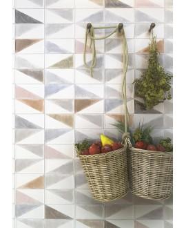 Carrelage crédence cuisine V décor rabari multicolor 10x20cm