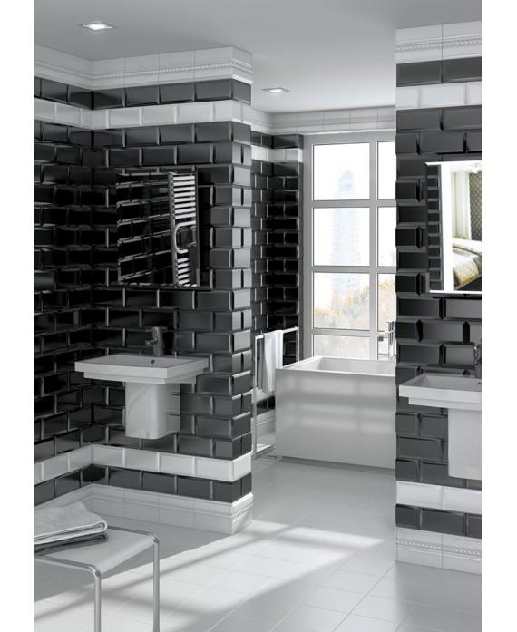 Carrelage m tro v mugat noir brillant 10x20 cm - Carrelage noir brillant salle de bain ...