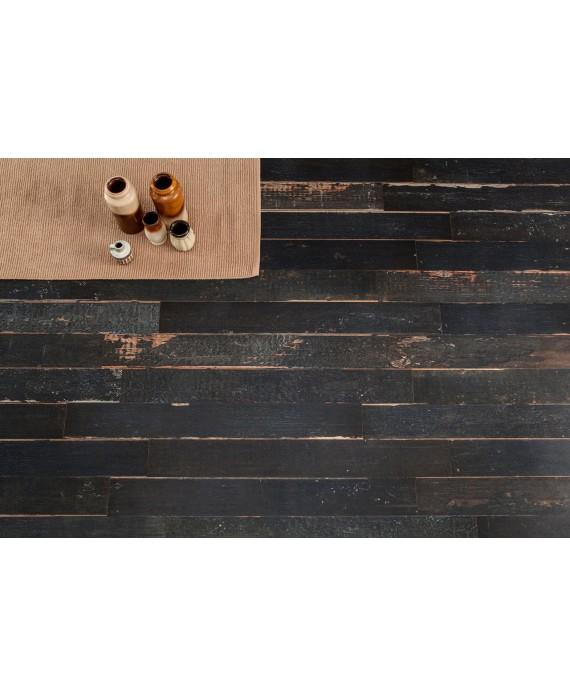 Carrelage imitation parquet moderne mat, 15x120cm rectifié, santablend noir