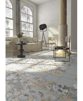 Carrelage imitation carreau de ciment de fleurs 20x20 cm V flore gris patchwork