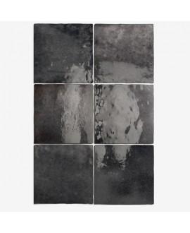 Carrelage Effet Zellige A graphite brillant 13.2x13.2cm