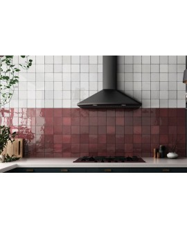 Carrelage Effet Zellige A rouge et blanc brillant 13.2x13.2cm