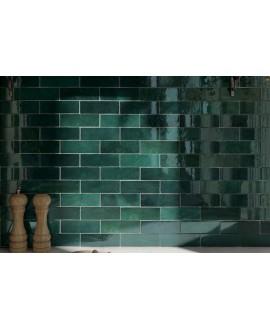 Carrelage Effet Zellige A vert foncé brillant 6.5x20cm