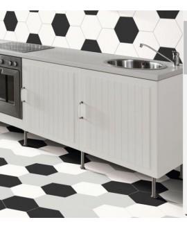 Carrelage cuisine hexagone tomette realopal blanc  28.5x33cm