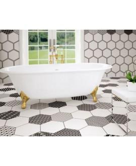 Carrelage hexagone tomette salle de bain realgrazia blanc 28.5x33cm