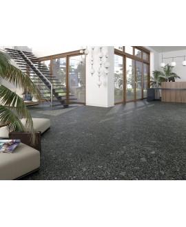 Carrelage imitation terrazzo et granito fond noir mat, 80x80cm rectifié, arcamiscella grafito antiderapant R10