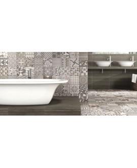 Carrelage effet carreau ciment décor, patchwork salle de bain 44x44cm realtapis