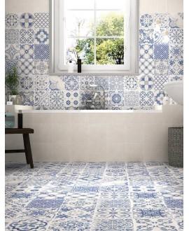 Carrelage salle de bain blanc et bleu mat effet carreau ciment ancien patchwork 44x44cm realskyros décor blanc