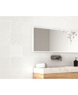 Carrelage aspect métal patchwork realglint blanc 44x44cm