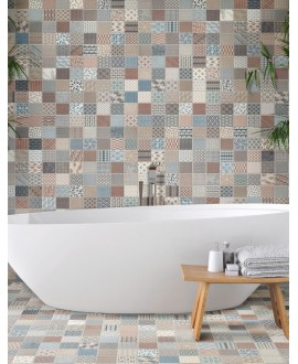 Carrelage effet carreau ciment, salle de bain 44x44cm realkimono