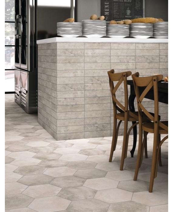 Carrelage Hexagonal Imitation Pierre Sol De Cuisine 28 5x33cm Realmenphis Gris