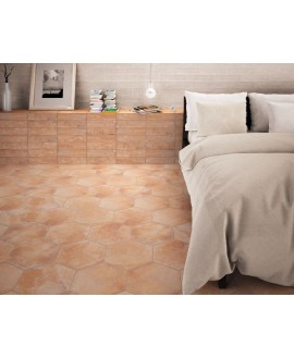 Carrelage hexagonal imitation terre cuite 28.5x33cm, realmenphis cotto