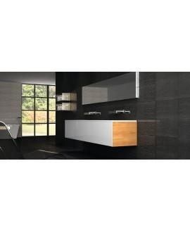 Carrelage imitation parement en pierre 31x56cm,  realniagara noir et base noir