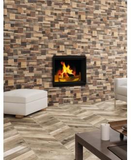 Carrelage imitation parement bois de palette, parement salon 31x56cm, realpallet tabac