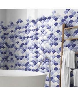 Carrelage realscale shell bleu brillant 30.7x30.7cm