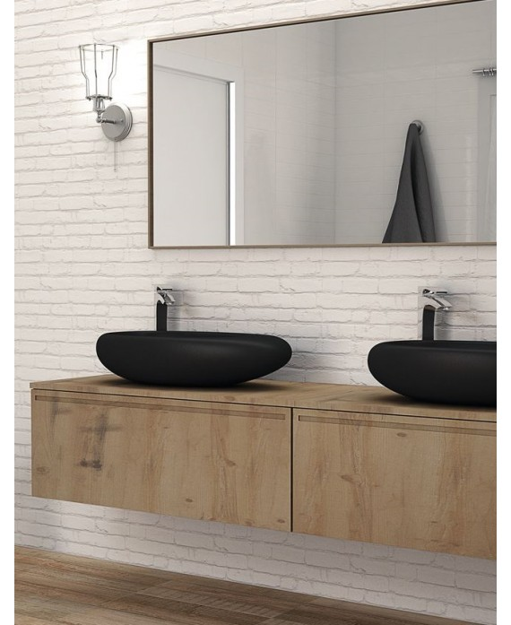 Carrelage parement imitation brique blanc mat mur de salle de bain 31x56cm realmanhattan blanc