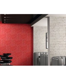 Carrelage parement realmanhattan rouge et blanc mat