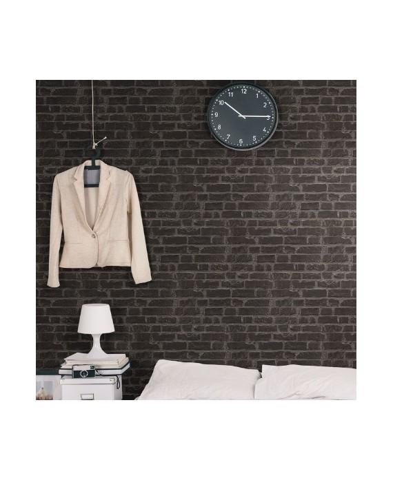 Carrelage imitation parement brique noir mat mur de salle de bain 31x56cm realmanhattan noir