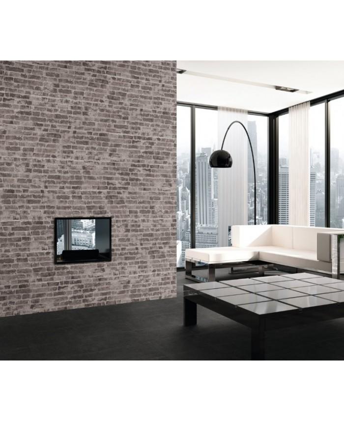 Carrelage parement imitation brique gris mat 31x56cm realmanhattan charcoal