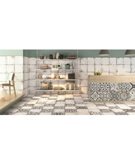 Carrelage imitation carreau ciment vieilli 33x33cm, realantique patchwork dans la cuisine