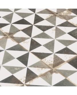 Carrelage imitation carreau ciment ancien décor triangle noir gris et blanc 33x33cm, realantique triangle