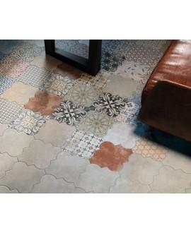 Carrelage arabesque provençal realriga gris mélangé au patchwork