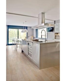 Carrelage imitation parquet contemporainsol cuisine 20x120cm rectifié, santanature blanc lisse