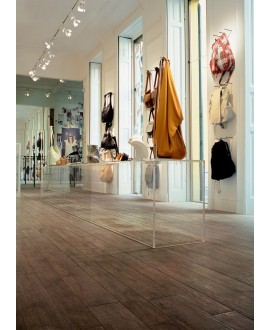 Carrelage imitation parquet contemporain, 20x120cm rectifié, santanature marron