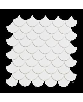 mosaique écaille de poisson D blanc mat 4.8cm sur trame 30.5x30.5x0.6cm
