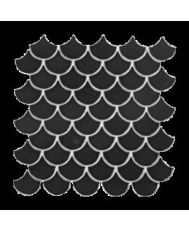 mosaique écaille de poisson noir mat 4.8cm sur trame 30.5x30.5x0.6cm