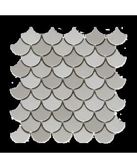 mosaique écaille de poisson blanc et gris mat 4.8cm sur trame 30.5x30.5x1cm