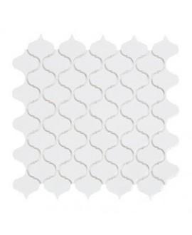 mosaique d'arabesque D blanc brillant sur trame 30.5x30.5x0.6cm
