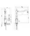 Mitigeur évier robinet style ancien rétro F5417N chromé ou doré