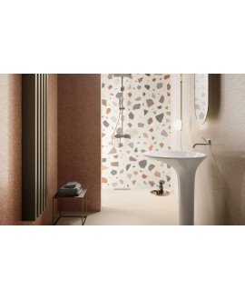 Carrelage salle de bain effet terrazzo et granito 90x90cm rectifié, santanewdeco palladian light brillant