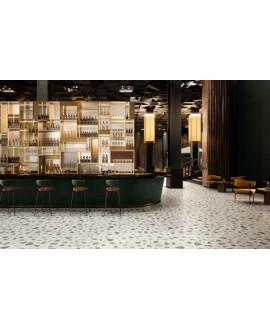 Carrelage effet terrazzo et granito, magasin, 90x90cm rectifié, santanewdeco palladian light mat