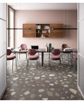 Carrelage effet terrazzo et granito 90x90cm rectifié, santanewdeco palladian dark mat