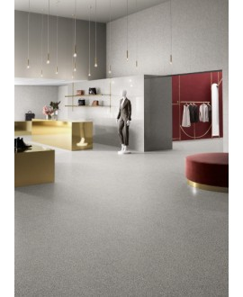 Carrelage effet terrazzo et granito, magasin, 90x90cm rectifié, santanewdeco grey mat